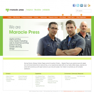 Maracle Press WordPress website image
