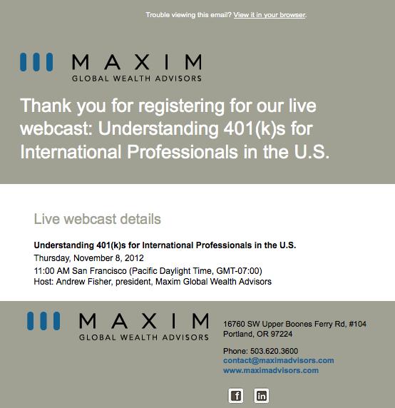 Maxim Advisors registration confirmation email image