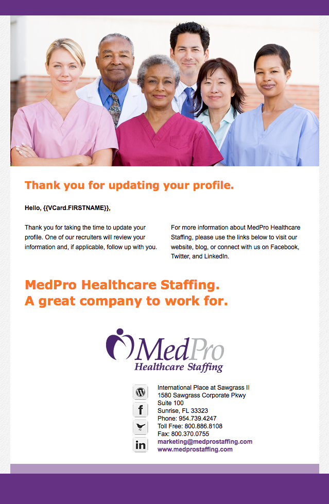 MedPro Healthcare Staffing confirmation email image
