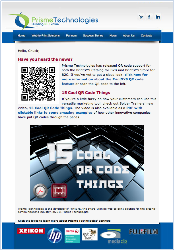 Prisme Technologies 15 Cool QR Code Things email image
