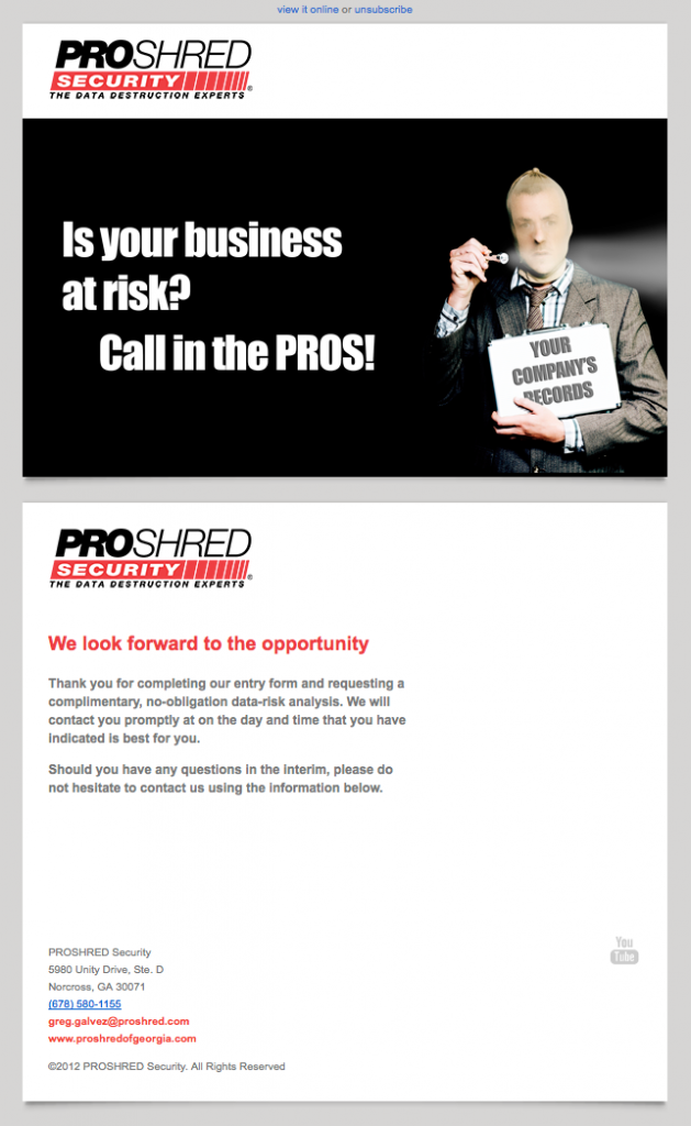 ProShred Security free quote email image