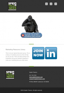 Spider Trainers' Marketing Resource Library anouncement email image