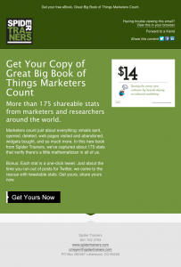 Spider Trainers' Great Big Book of Things Marketers Count eBook blast email image