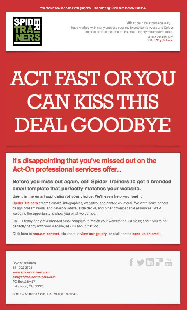 Spider Trainers' Kiss This Deal Goodbye animated blast email image