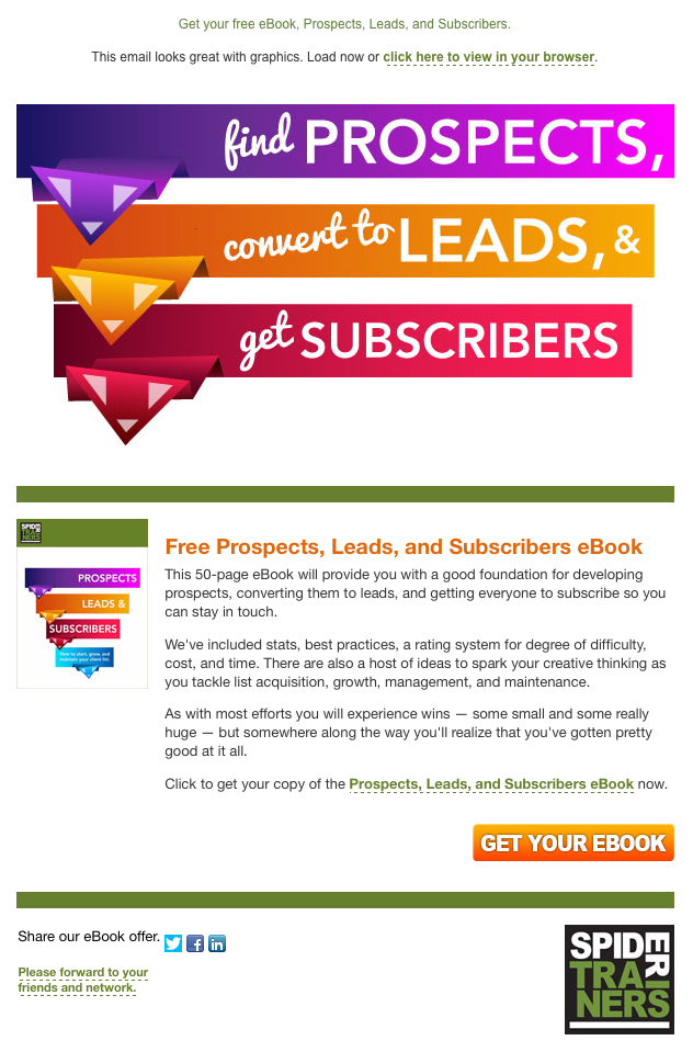 Spider Trainers' Prospects, Leads, & Subscribers eBook email image