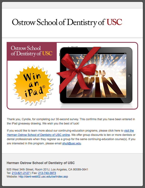 USC Dentistry confirmation email image