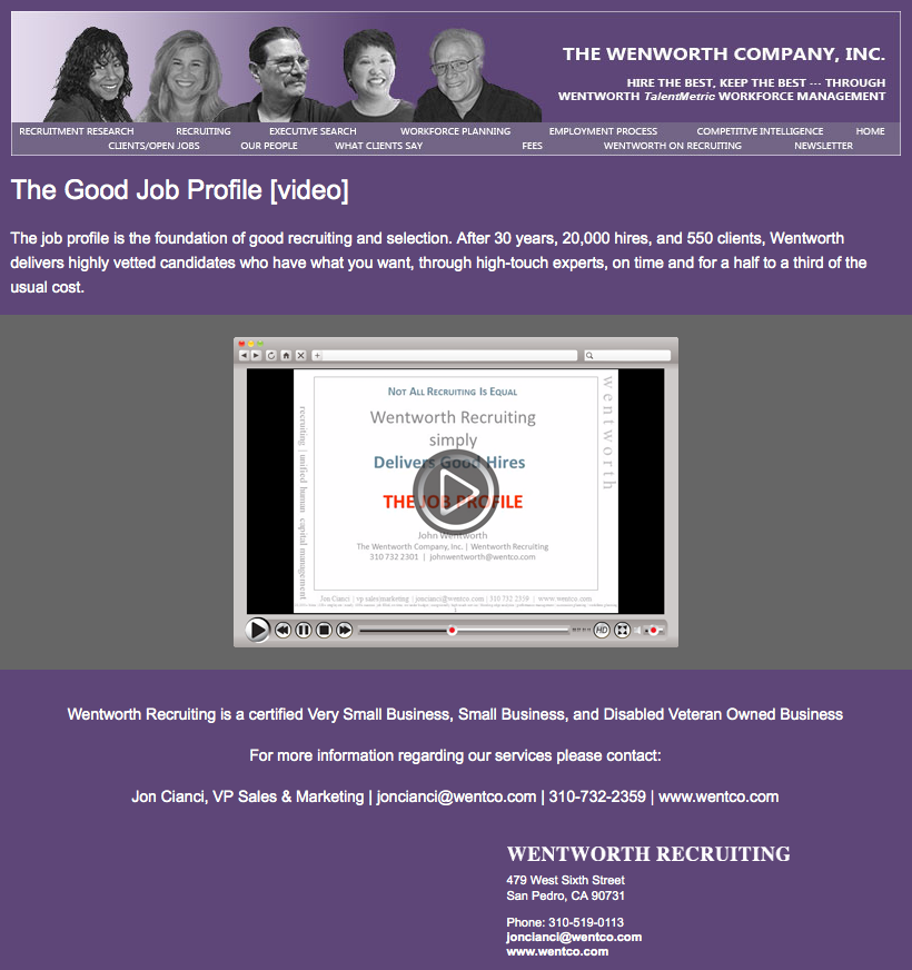The Wentworth Company, Inc. video player email image